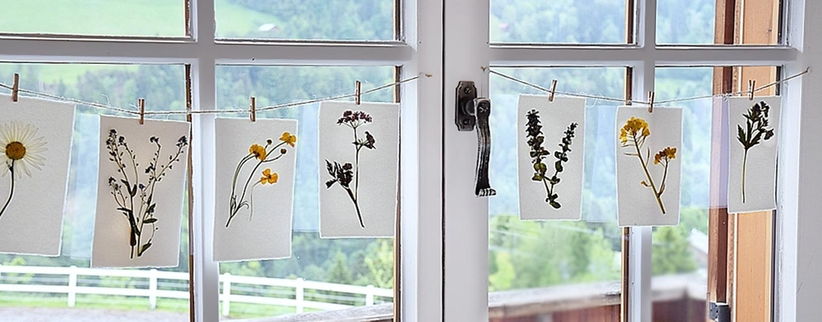 DIY-gepresste Blumen auf handgeschöpftem Papier