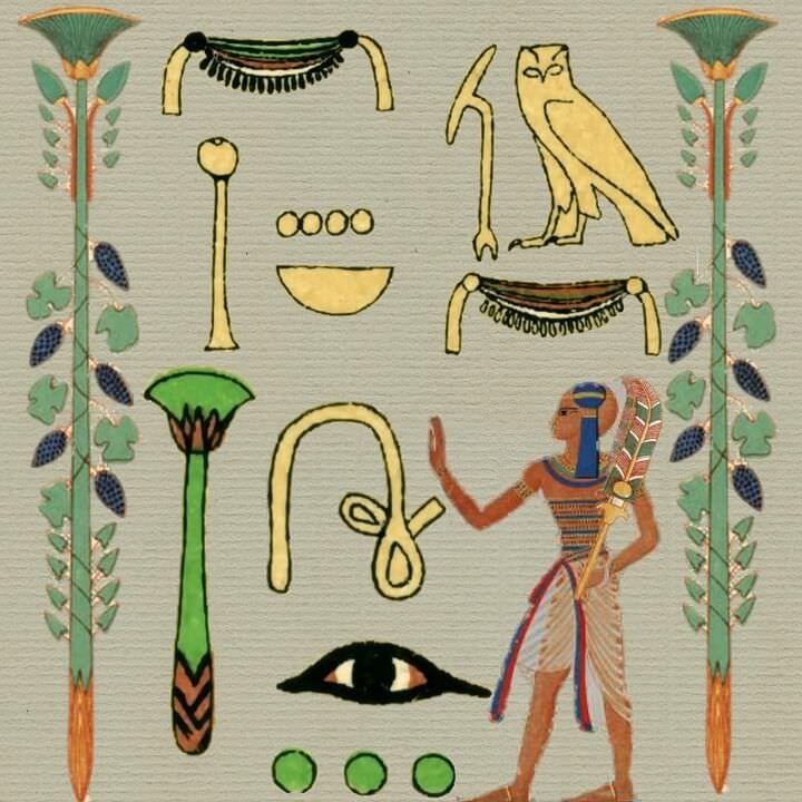 Aegyptische Malerei auf Stein mit plissiertem Rock