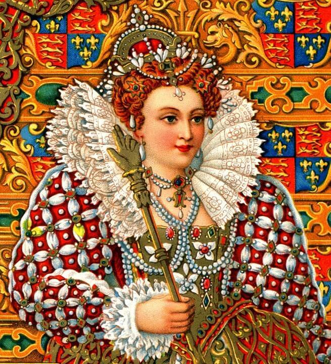 Koenigin Elisabeth mit pompoesem Kragen
