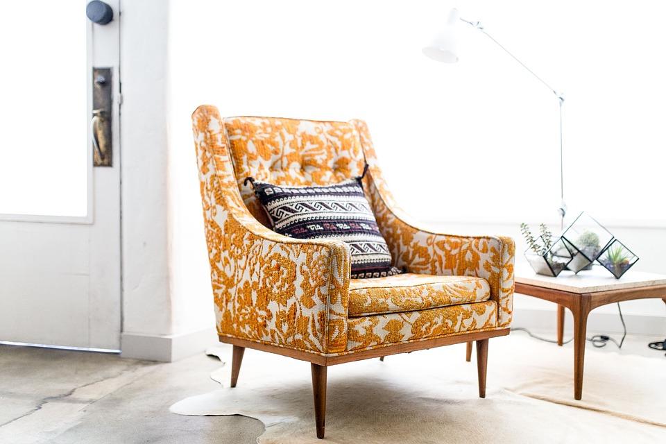 Shabby Chic Paisley Polsterbezogener Sessel alt gelb