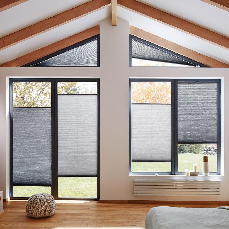 plissee sonderformen passgenaue plissees f r jede fensterform. Black Bedroom Furniture Sets. Home Design Ideas